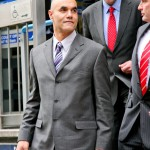 City of Westminster, Magistrates Court, 31 March 2010 - Sergeant Delroy Smellie leaves court after being found not guilty of assault on animal rights activist Nicola Fisher during G20 protest in London in April 2009.