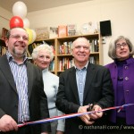 Stoke Newinfton, Hackney, April 14th 2010 - Opening of a new library in the Brenner Community Centre. On the picture (from left to right): Lester Harris - Brenner Community Centre Manager, Lilian Myers - volunteer at the Brenner Community Centre,  Gerarld Jacobs - Jewish Chronicle Editor and Cydonie Garfield - Assistant Drector of Community Services at Jewish Care. (Photo: Nathanael Corre)