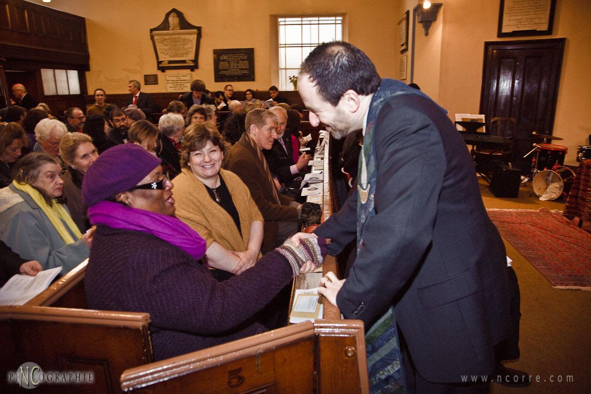 Rev. Andy Pakula greets Diane Abbott, MP for Hackney North and S