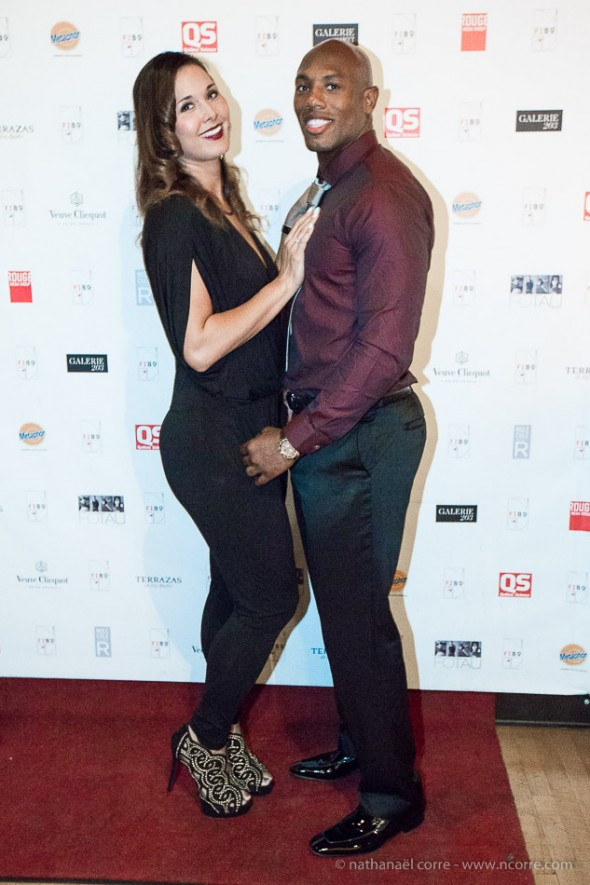 Kyries Hebert, linebacker for the Montreal Alouettes at a Comptoir de l'Homme event in Old Montreal.